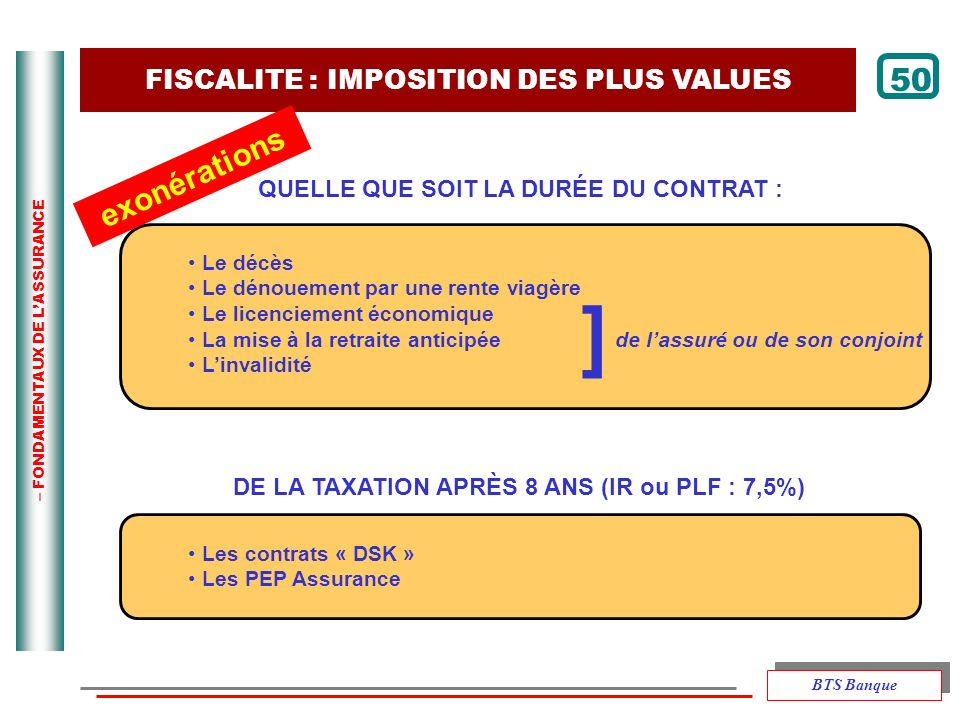 ] 50 exonérations FISCALITE : IMPOSITION DES PLUS VALUES